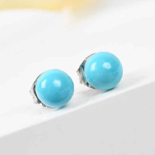 AA Arizona Sleeping Beauty Turquoise Ball Stud Earrings (with Push Back) in Platinum Overlay Sterling Silver 1.25 Ct.