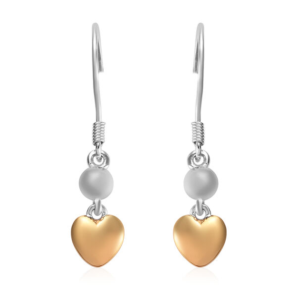 Platinum and Yellow Gold Overlay Sterling Silver Heart Hook Earrings