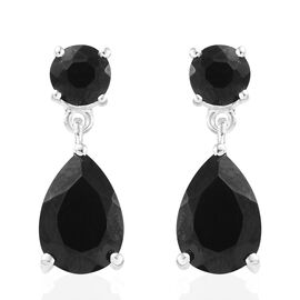 Boi Ploi Black Spinel (Pear and Rnd) Earrings (with Push Back) in Sterling Silver 6.000  Ct.