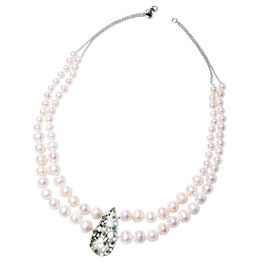 RACHEL GALLEY Freshwater White Pearl and Russian Diopside Beaded Necklace in Rhodium Plated Silver