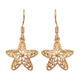 14K Gold Overlay Sterling Silver Starfish Hook Earrings