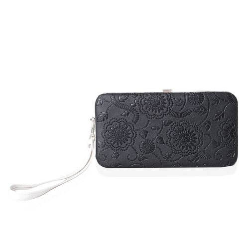 Limited Flower Embossed Pattern Balck RFID Clutch Wallet with Slot for Large Phone and Card and Cash