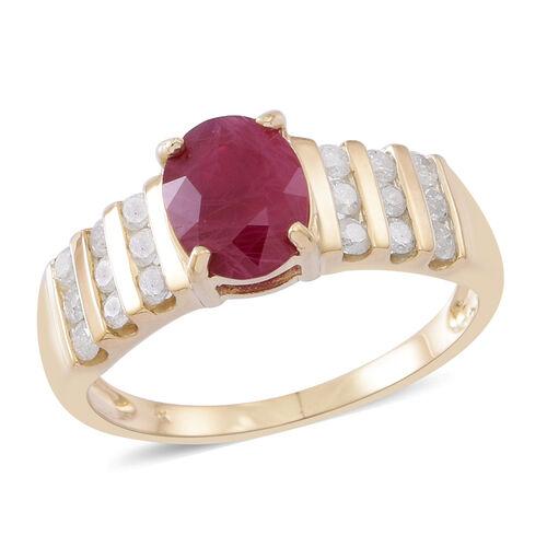 9K Yellow Gold AAA Burmese Ruby (Ovl 2.15 Ct), Diamond (I3/G-H) Ring 2.750 Ct.