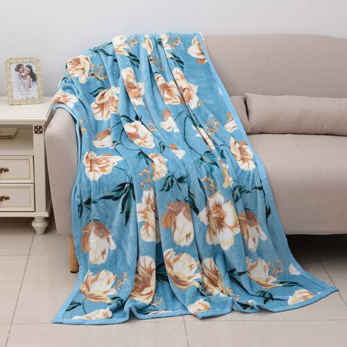 Luxury Microfibre Flannel Printed Blanket with Floral Pattern in Light Blue and Multi Colour (Size 200x150 Cm)