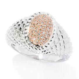 Champagne Diamond Cluster Ring in Rose Gold Rhodium Plated Silver 5.20 Grams