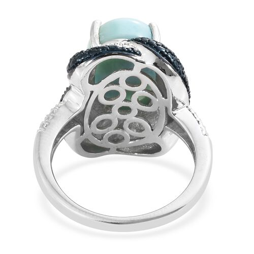 Larimar (Ovl) Solitaire Ring in Platinum Overlay Sterling Silver 6.500 Ct. Silver wt 7.58 Gms.
