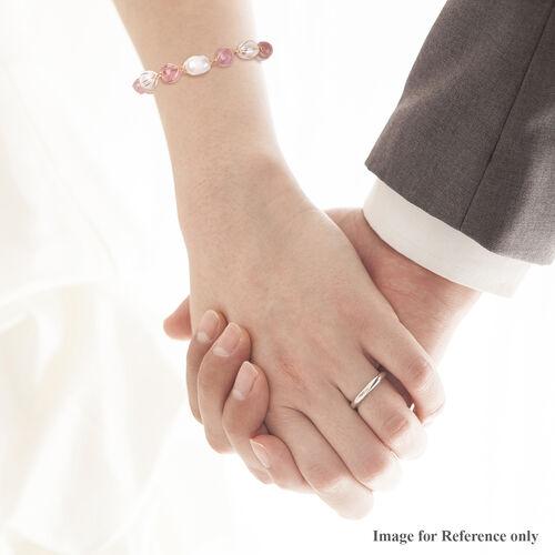 Strawberry Quartz, Freshwater White Pearl Bracelet (Size 7 wit 2 inch Extender) 3.90 Ct.