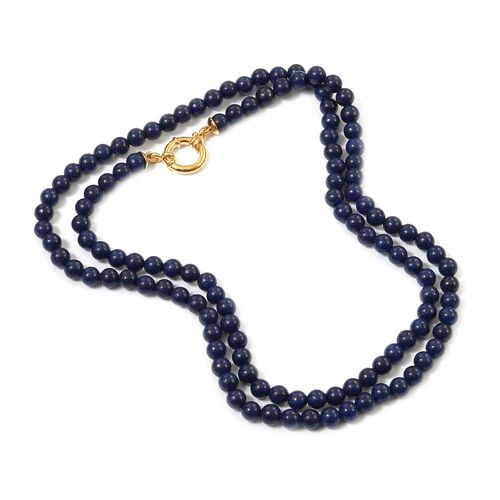 Sundays Child Lapis Lazuli Bead Necklace (Size 30) in Yellow Gold Vermeil Sterling Silver 200.00 Ct.