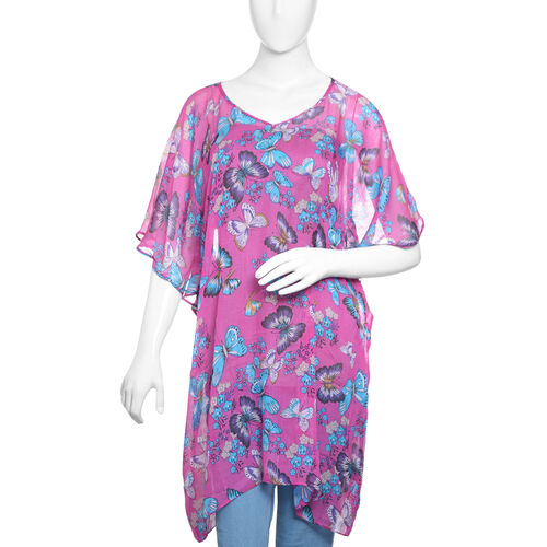 Designer Inspired- Fuchsia and Multi Colour Flower and Butterfly Pattern 100% Modal  Kaftan (Free Si