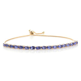 9K Yellow Gold AA Tanzanite (Ovl) Bolo Adjustable Bracelet (Size 7.5) 4.00 Ct, Gold wt 5.77 Gms.