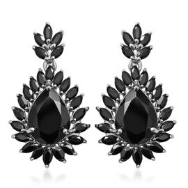 Cocktail Collection- Boi Ploi Black Spinel (Pear 16x12 mm) Earrings (with Push Back) in Rhodium Over