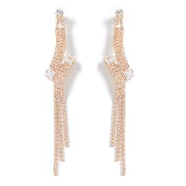 Designer Inspired- Simulated Diamond (Sqr), White Austrian Crystal Earrings (with Push Back) in Gold