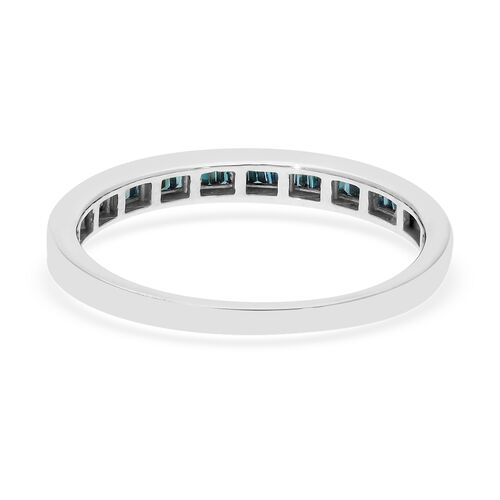 Blue Diamond Half Eternity Band Ring in Platinum Overlay Sterling Silver 0.25 Ct.