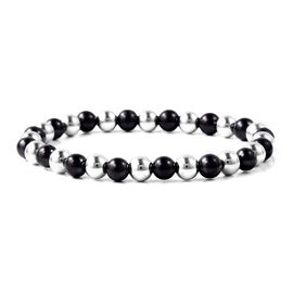 84 Ct Shungite and Hematite Beaded Bracelet in Sterling Silver 7 Inch