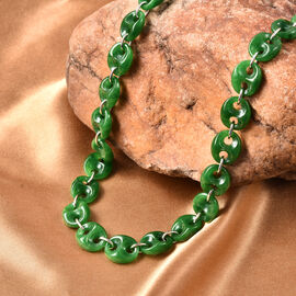 Green Jade Necklace (Size 18) in Rhodium Overlay Sterling Silver  159.00 Ct