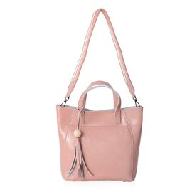 Last Chance 100% Genuine Leather Dusty Pink Colour Tote Bag with External Zipper Pocket and Removable Shoulder Strap (Size 32x27x26x11 Cm)