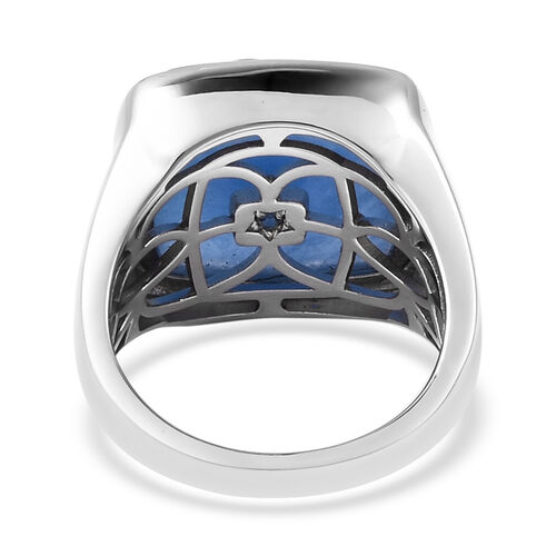GP - Blue Jade, Tanzanite, Natural Cambodian Zircon and Blue Sapphire Crescent Moon and Star Ring in Rhodium Overlay Sterling Silver 18.13 Ct, Silver wt 8.56 Gms