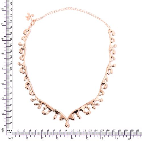 TJC Launch- LucyQ Sea Wave Necklace (Size 14 and 6 inch Extender) in Rose Gold Overlay Sterling Silver, Silver wt 40.03 Gms.