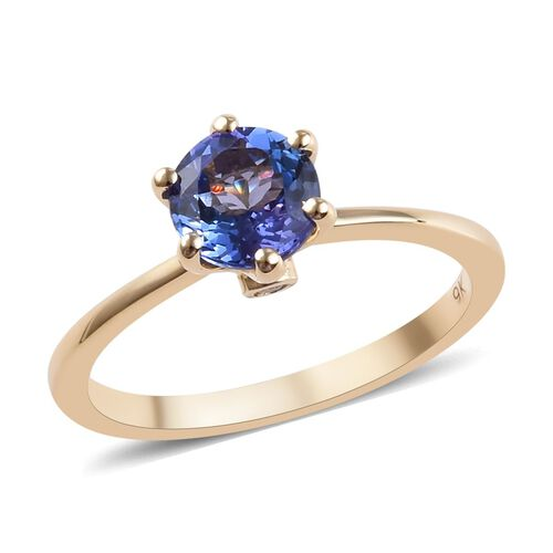 1.03 Ct Tanzanite and Diamond Solitaire Ring in 9K Yellow Gold 1.78 Grams