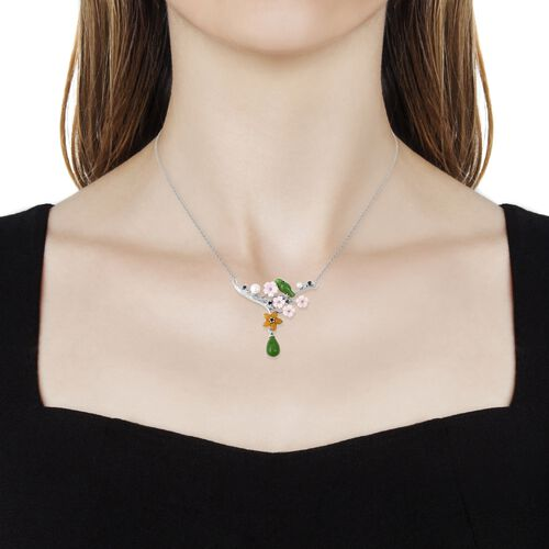 JARDIN COLLECTION- Green and Yellow Jade, Pink Mother of Pearl, Freshwater Pearl and London Blue Topaz Necklace (Size 18) in Rhodium Overlay Sterling Silver 12.085 Ct.