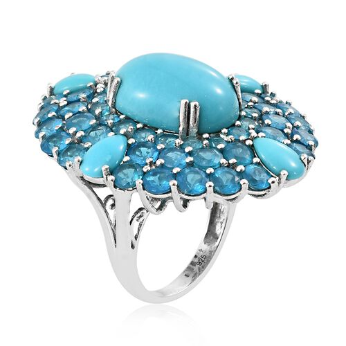 Limited Edition-Arizona Sleeping Beauty Turquoise (Ovl and Pear),  Malgache Neon Apatite Ring in Platinum Overlay Sterling Silver 22.000 Ct.