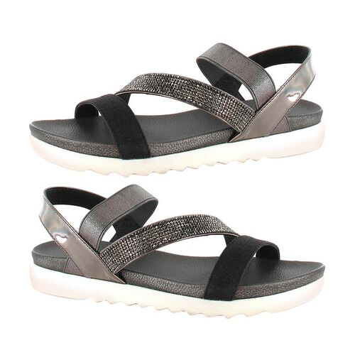 Ella Gloria Strappy Cushioned Sandals (Size 4) - Black