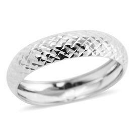 Royal Bali Collection - 9K White Gold Diamond Cut Band Ring