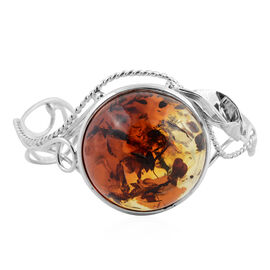 Big Size Bi-Colour Baltic Amber Round Cut Bangle (Size 7) in Sterling Silver (Silver wt 21.26 Gms.)