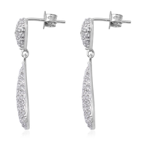 ELANZA Simulated Diamond (Rnd) Drop Dangle Earrings (with Push Back) in Rhodium Overlay Sterling Silver
