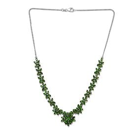 17 Ct Russian Diopside Floral Necklace in Platinum Plated Silver 19.20 Grams 18 Inch