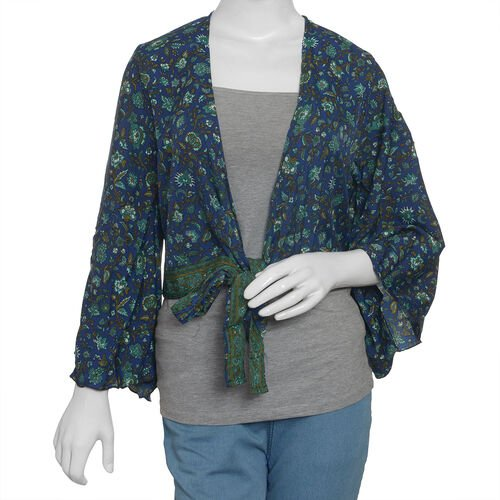 Spring Specail Navy Blue Floral Printed Long Sleeve Top Size one