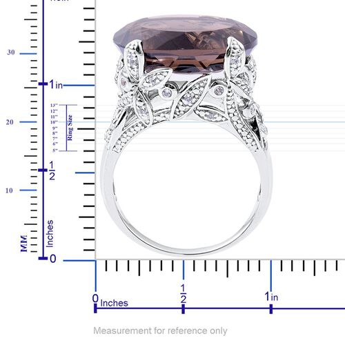 Brazilian Smoky Quartz (Ovl 17.25 Ct), White Topaz Ring in Platinum Overlay Sterling Silver 17.450 Ct.