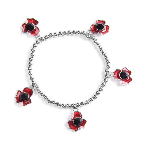 TJC Poppy Design - Black Austrian Crystal Enamelled Station Poppy  Bracelet (Size 6.5) in Silver Ton