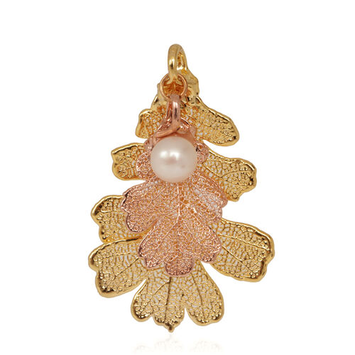 Real Lacey Oak Leaf Combo Pendant in 24K Yellow Gold and Rose Gold with Pearl