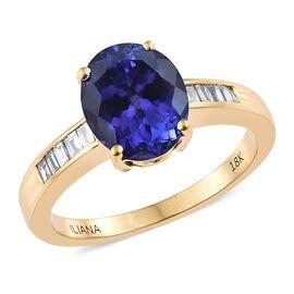 ILIANA 4 Carat AAA Tanzanite and Diamond Solitaire Design Ring in 18K Gold 4.78 Grams SI GH