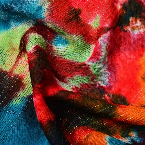 100% Wool Blue, Red and Multi Colour Scarf with Tassels (Size 190X65 Cm)