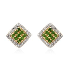 Russian Diopside and Natural Cambodian Zircon Earrings (with Push Back) in 14K Gold Overlay Sterling