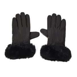 100% Genuine Leather Gloves with Black Faux Fur Around Wrist (Size 9x23 Cm) - Brown