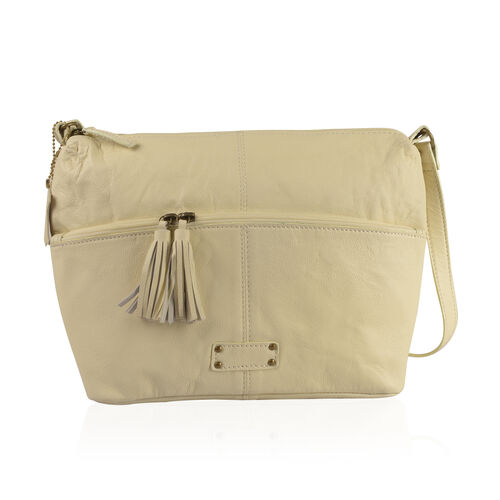 100% Genuine Leather RFID Blocker Off White Colour Sling Bag with External Zipper Pocket (Size 39X24X10 Cm)