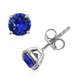 J Fancis - Crystal from Swarovski Sapphire Colour Crystal (Rnd) Stud Earrings (with Push Back) in Pl