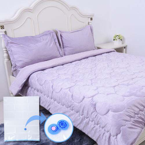 4 Piece Set - Serenity Night Lavender Colour Comforter (220x225cm), Fitted Sheet (140x190+30cm) and