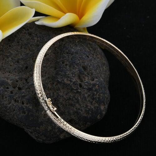 Royal Bali Collection 9K Yellow Gold Diamond Cut Bangle (Size 7), Gold wt 4.70 Gms.
