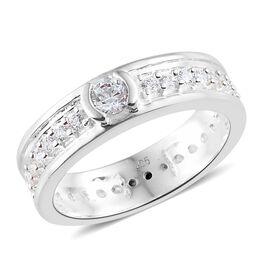 J Francis - Sterling Silver (Rnd) Full Eternity Ring Made With SWAROVSKI ZIRCONIA