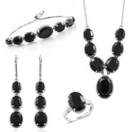 Boi Ploi Black Spinel (Ovl) Necklace (Size 18), Adjustable Bracelet (Size 6.5 to 8), Ring and Lever Back Earrings in Platinum Overlay Sterling Silver 59.500 Ct. Silver wt. 27.00 Gms.