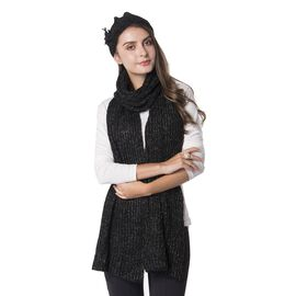 2 Piece Set - Rope Design Hat (Size 23 Cm) and Scarf (Size 190x30 Cm) Black and Grey Colour