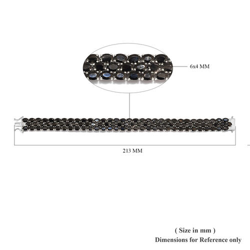 Elite Shungite (Ovl) Bracelet (Size 8) in Platinum Overlay Sterling Silver 21.50 Ct, Silver wt 25.41 Gms