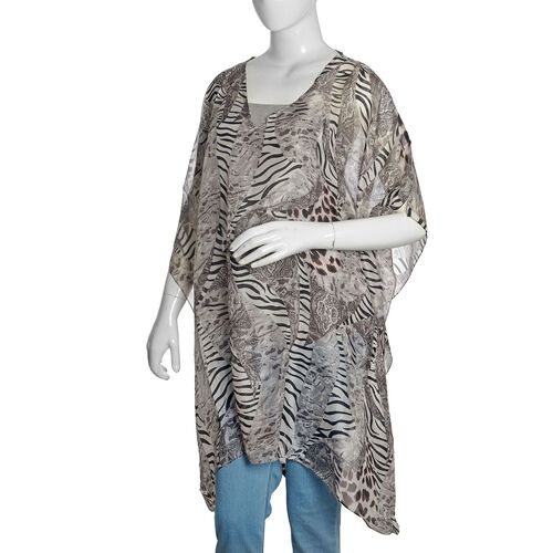 Brand New - 100% Mulberry Silk Black, Grey and White Colour Zebra and Leopard Printed Kaftan (Free Size)