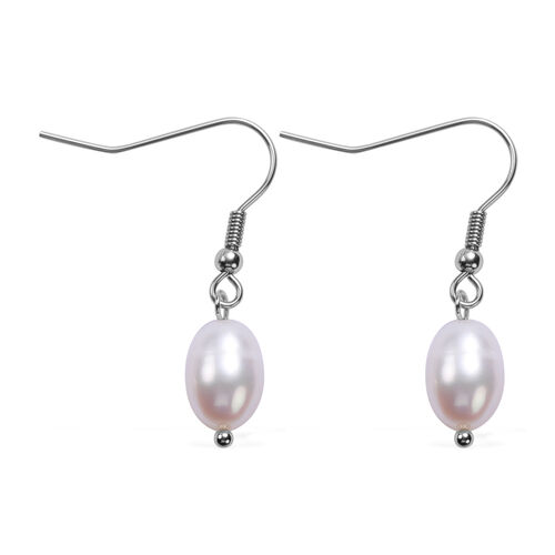 One Time Deal- 2 Piece Set Fresh Water Pearl Earrings and Necklace (Size 20 with 2 inch Extender) in Stainless Steel - White