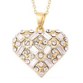 J Francis - Crystal from Swarovski White Crystal (Rnd and Bgt) Heart Pendant with Chain (Size 18) in