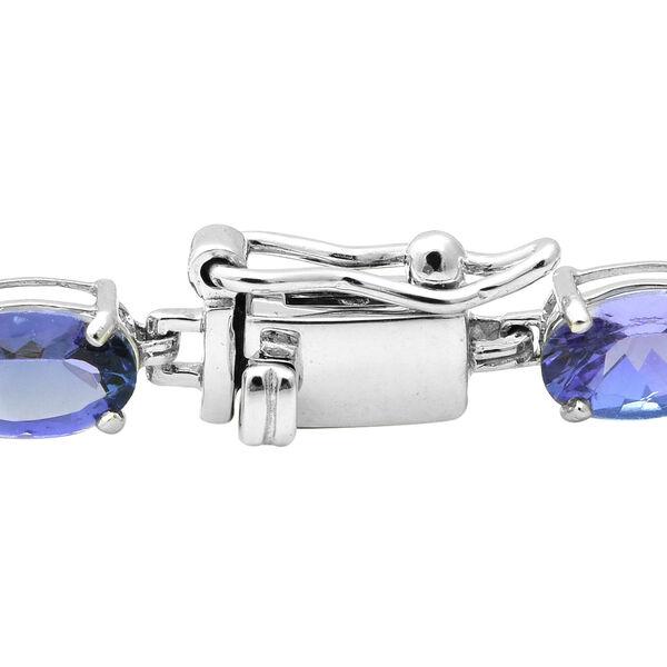 14K White Gold AAA Tanzanite Bracelet (Size 7.5) 10.80 Ct.